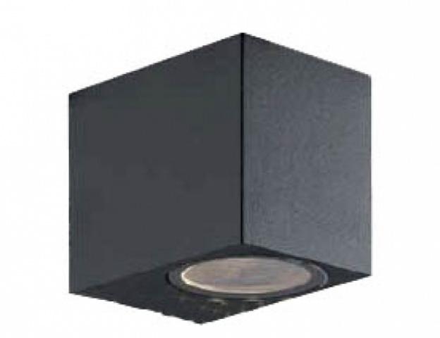 LEDmaster Oldalfalra helyezhető, fekete kerti lámpatest, egy irányba világító cserélhető fényforrással