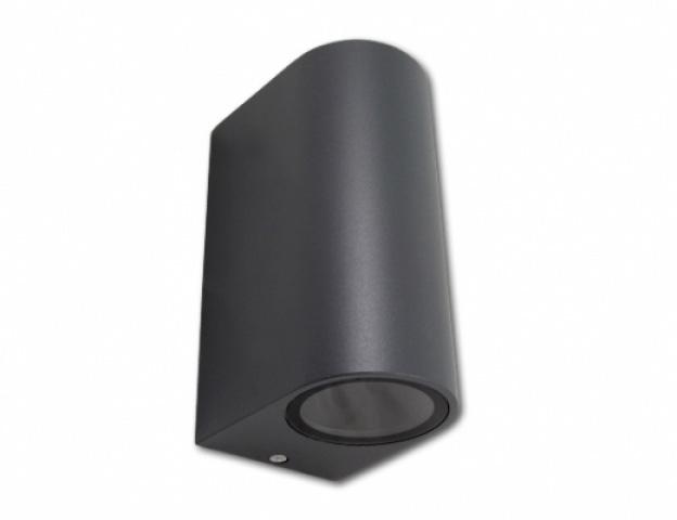 MasterLED Oldalfalra helyezhető, fekete matt kerti lámpatest, ívelt oldalú, két irányba világító cserélhető fényforrással