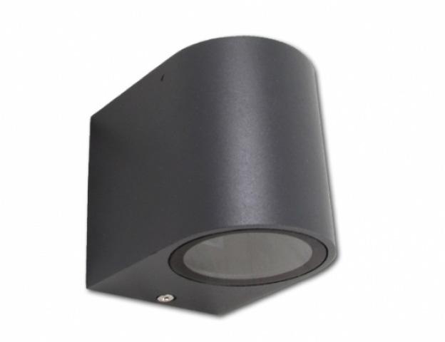 MasterLED Oldalfalra helyezhető, fekete matt kerti lámpatest, ívelt oldalú, egy irányba világító cserélhető fényforrással